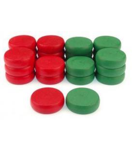 Crokinole: Piezas de Recambio Rojas y Verdes (24)