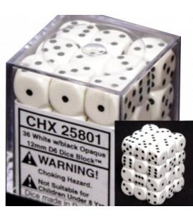 Caja Chessex 36 Dados de 6 caras: Blancos