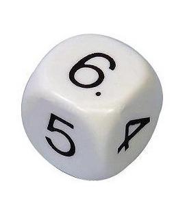Dado Blanco Números 6 Caras (14mm)