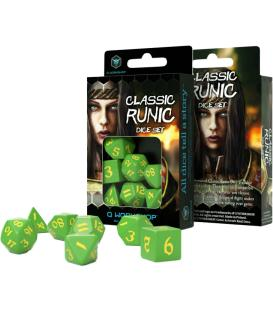 Q-Workshop: Classic Runic Dice Set (Green & Yellow)