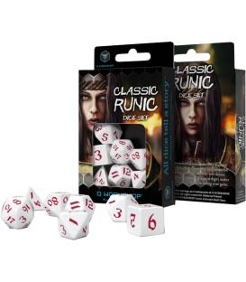 Q-Workshop: Classic Runic Dice Set (White & Red)