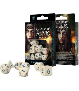 Q-Workshop: Classic Runic Dice Set (Beige & Blue)