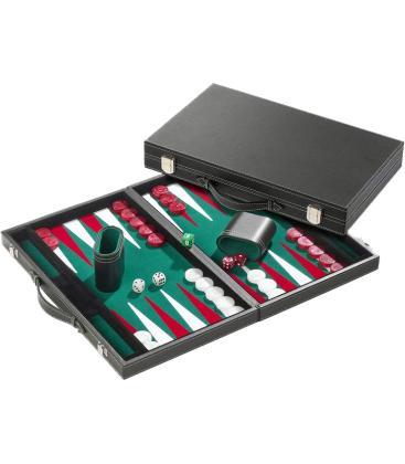 Backgammon: Verde Cuero Artificial (Mediano)