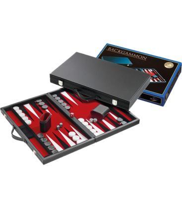 Backgammon: Rojo Cuero Artificial (Mediano)