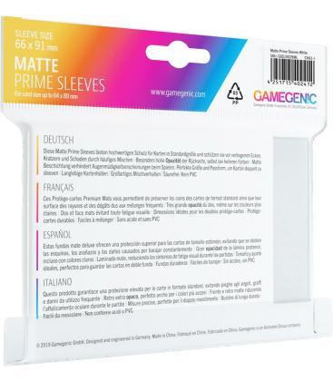 Gamegenic: Pack Matte Prime Sleeves (Blanco) (100)