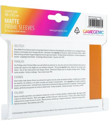 Gamegenic: Pack Matte Prime Sleeves (Naranja) (100)