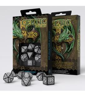 Q-Workshop: Celtic 3D Revised Black/White Dice Set