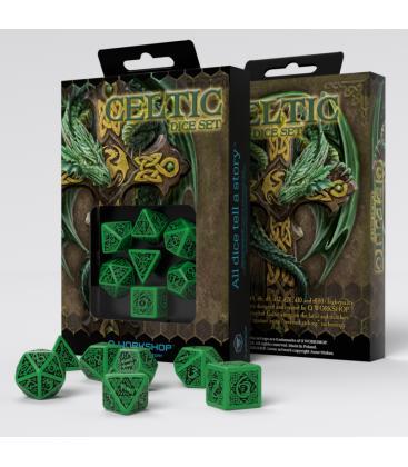 Q-Workshop: Celtic 3D Revised Green/Black Dice Set