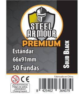 Fundas Steel Armour (63,5x88mm) PREMIUM Standard (50) Negro - Exterior 66x91mm