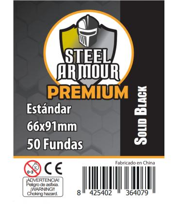 Fundas Steel Armour COLOR (63,5x88mm) PREMIUM Standard (50) Negro - Exterior 66x91mm