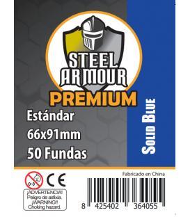 Fundas Steel Armour (63,5x88mm) PREMIUM Standard (50) Azul - Exterior 66x91mm