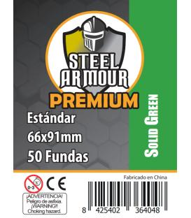 Fundas Steel Armour COLOR (63,5x88mm) PREMIUM Standard (50) Verde - Exterior 66x91mm