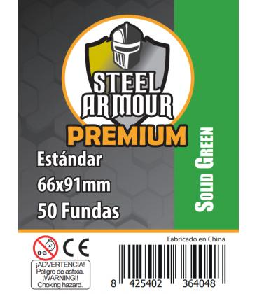 Fundas Steel Armour COLOR (63,5x88mm) PREMIUM Standard (50) Verde - Exterior 66x91mm