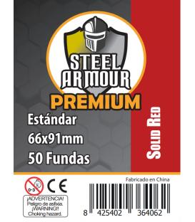 Fundas Steel Armour COLOR (63,5x88mm) PREMIUM Standard (50) Rojo - Exterior 66x91mm
