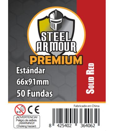 Fundas Steel Armour COLOR (63,5x88mm) PREMIUM Standard (50) Rojo - Exterior 66x91mm
