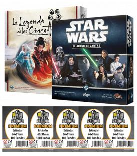 Pack SWP - Star Wars LCG: Caja Básica + Leyenda de los Cinco Anillos LCG (+ Fundas Premium)