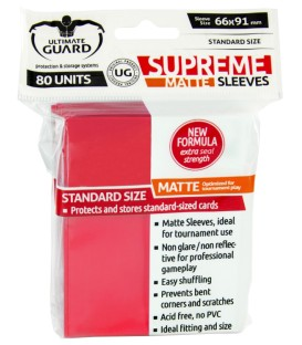 Fundas Ultimate Guard (66x91mm) SUPREME MATTE - Rojo (80)