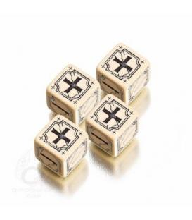 Q-Workshop: Ancient Fudge/Fate D6 Dice (Beige/Negro)